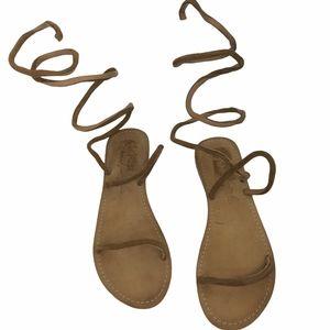 Free People Havana Brown Suede Gladiator Sandals